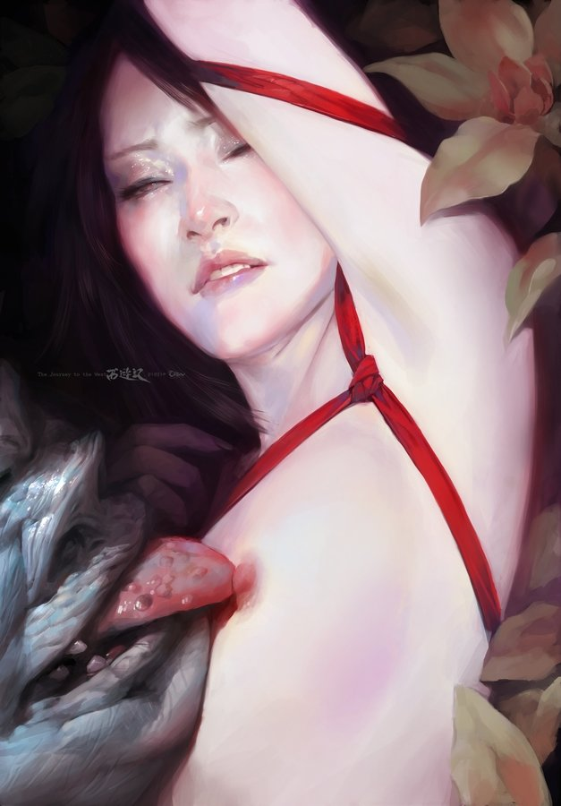 Wei Feng Digital Painting Illustration Monster licking woman pale skin