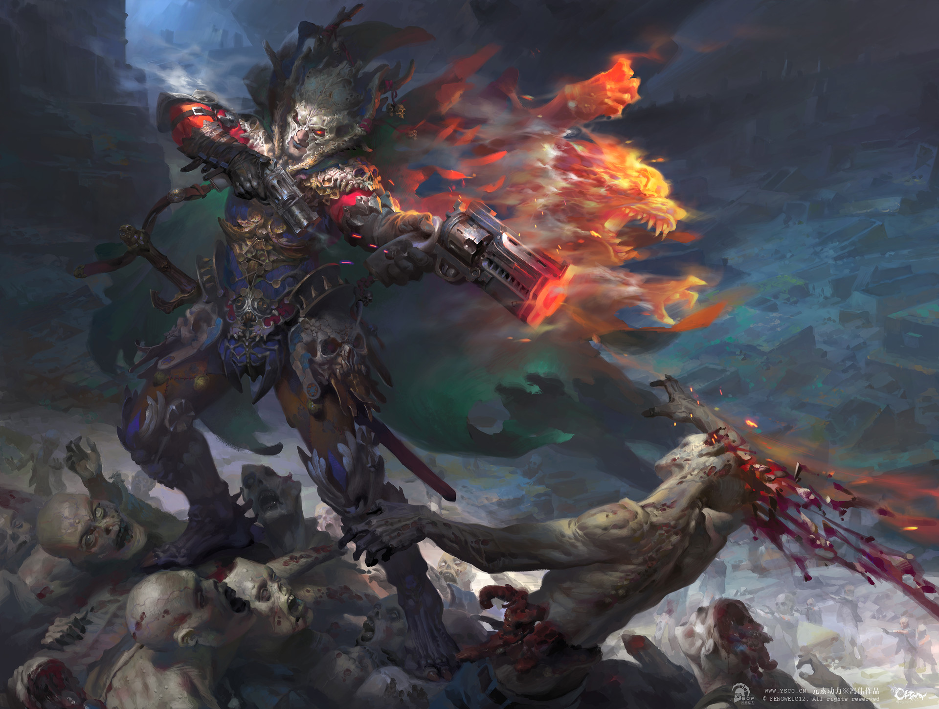 Wei Feng Digital Painting Illustration Zombie fight with gun