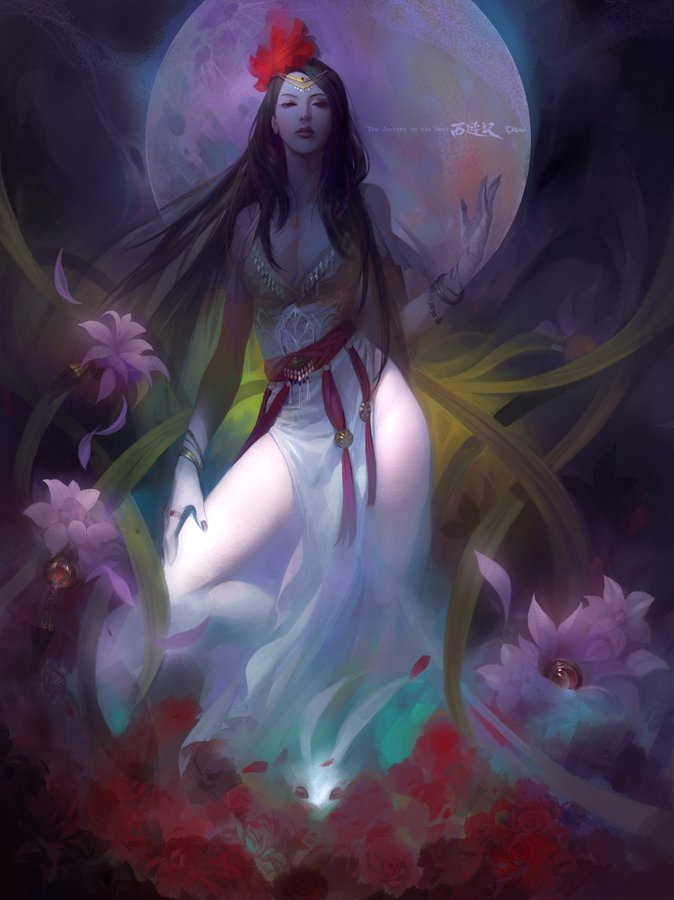 Wei Feng Digital Painting Illustration Change Chinese godess