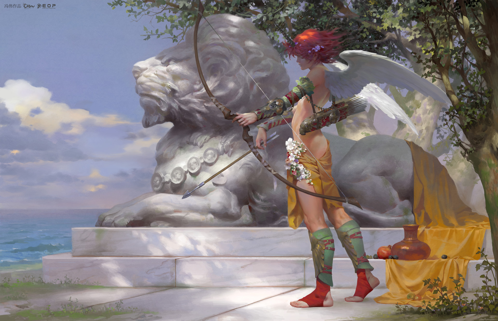 Wei Feng Digital Painting Illustration angel red hair with bow lion statue