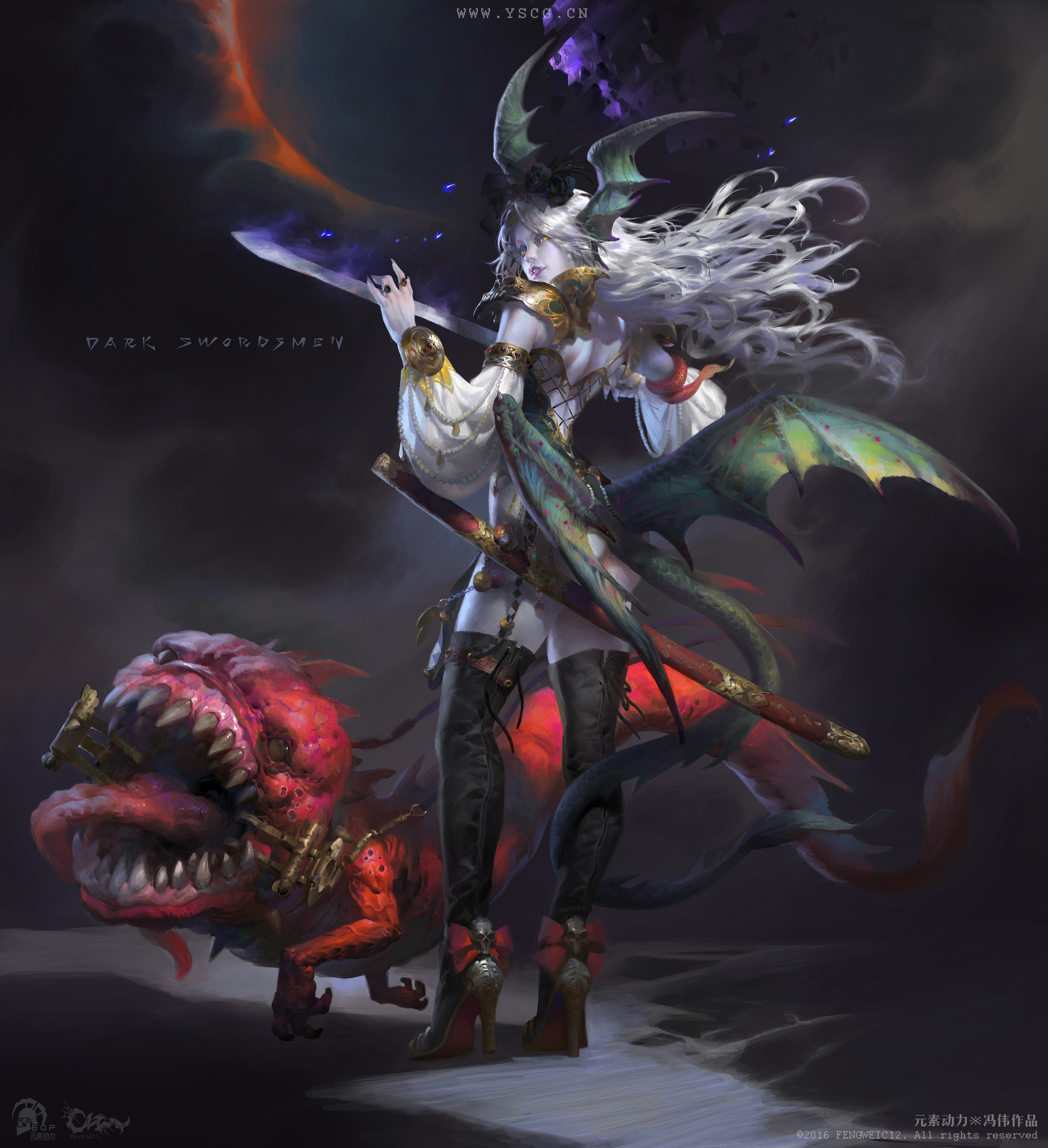 Wei Feng Digital Painting Illustration demon girl red creature