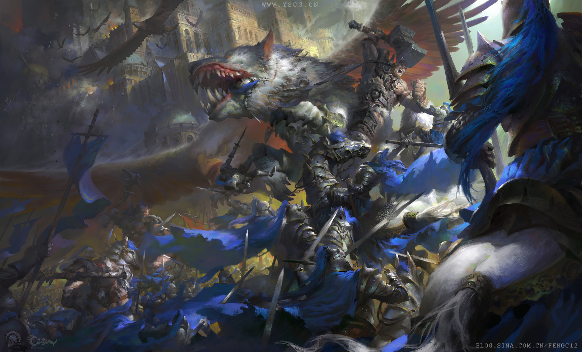 Wei Feng Digital Painting Illustration Epic Battle blue flag fluffy creature