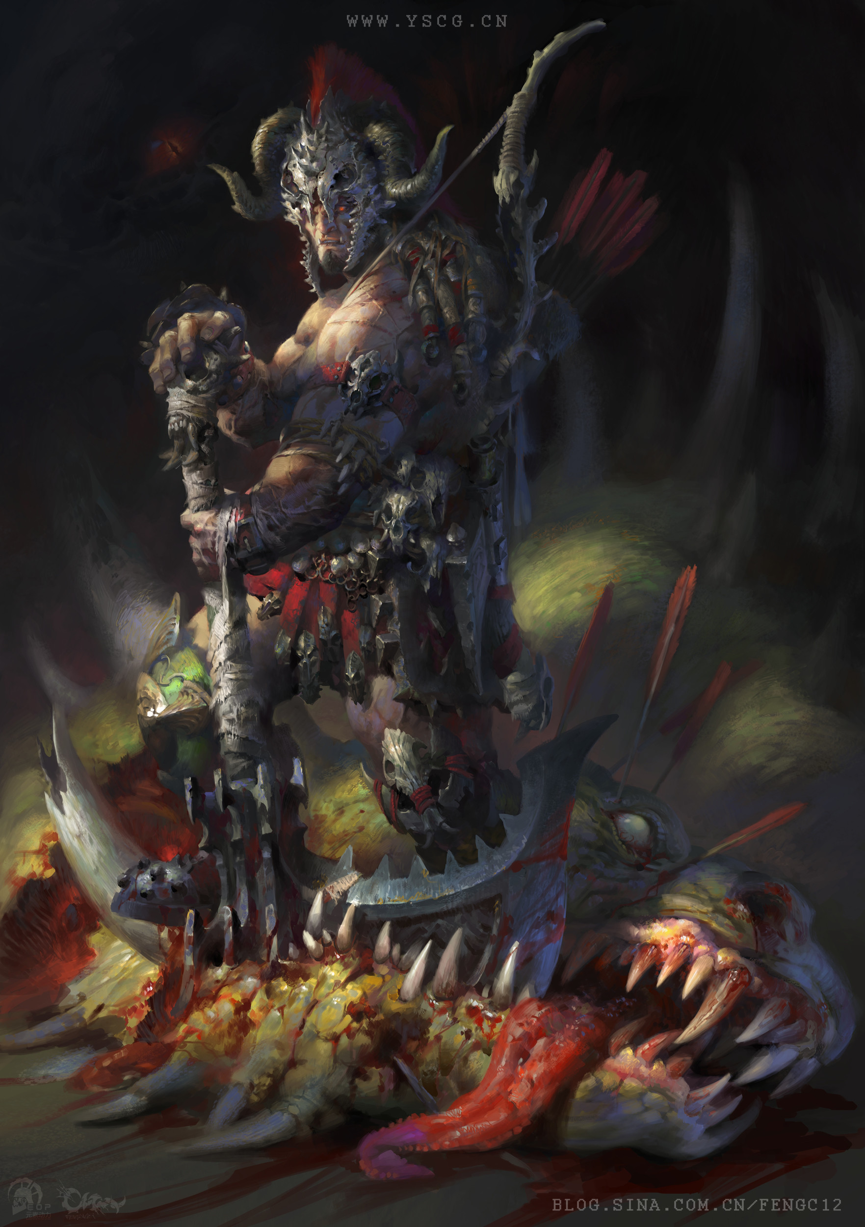 Wei Feng Digital Painting Illustration warrior killing creature