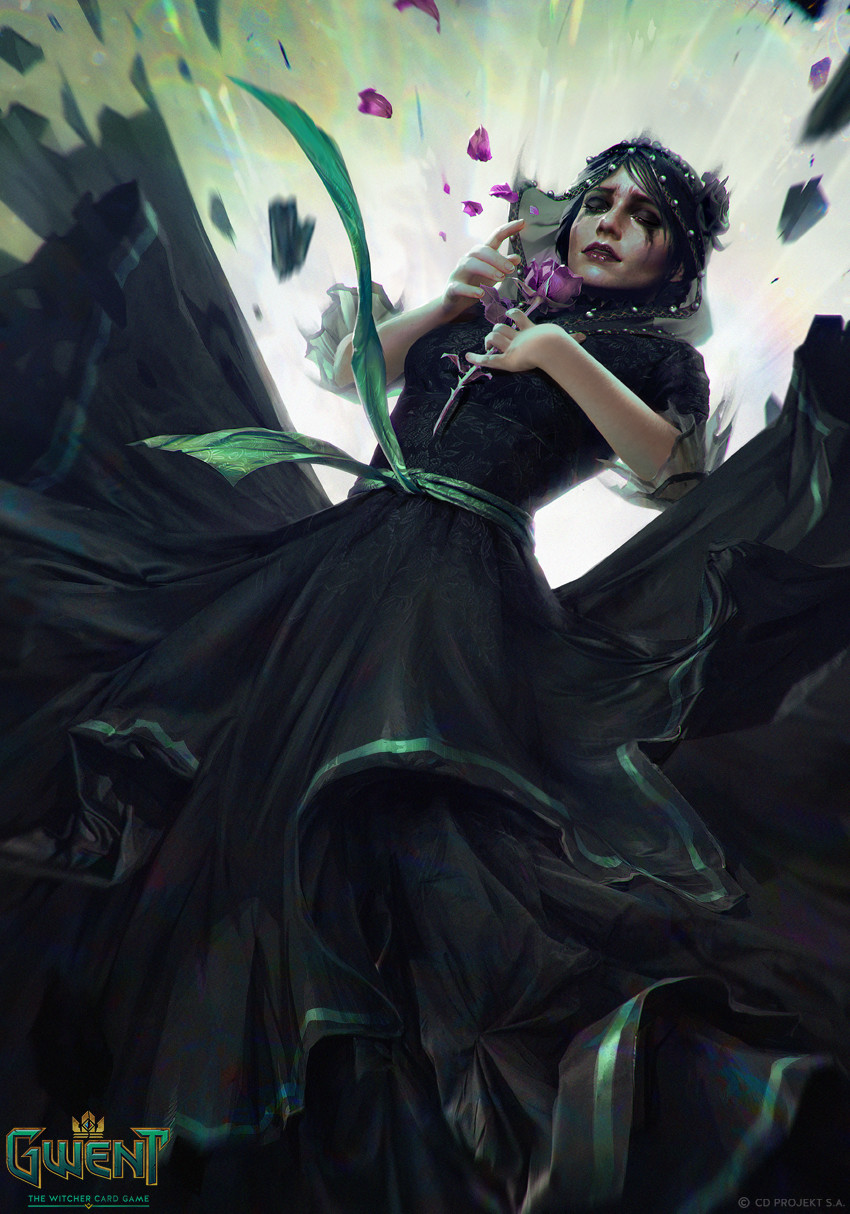 Anna Podedworna Illustration Card Gwent Iris Black Dress