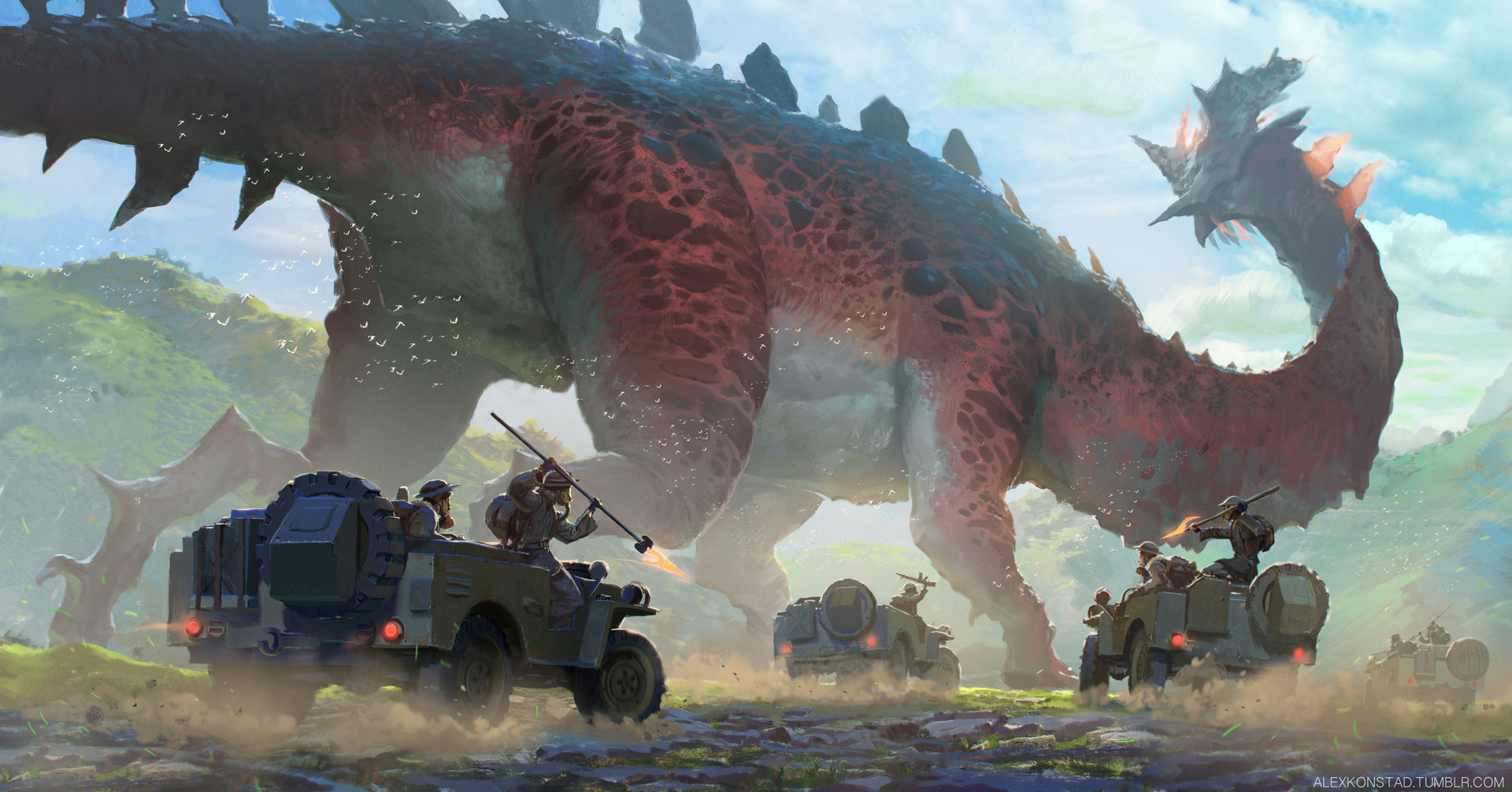 Alex Konstad Digital Painting The Megasaur Poachers
