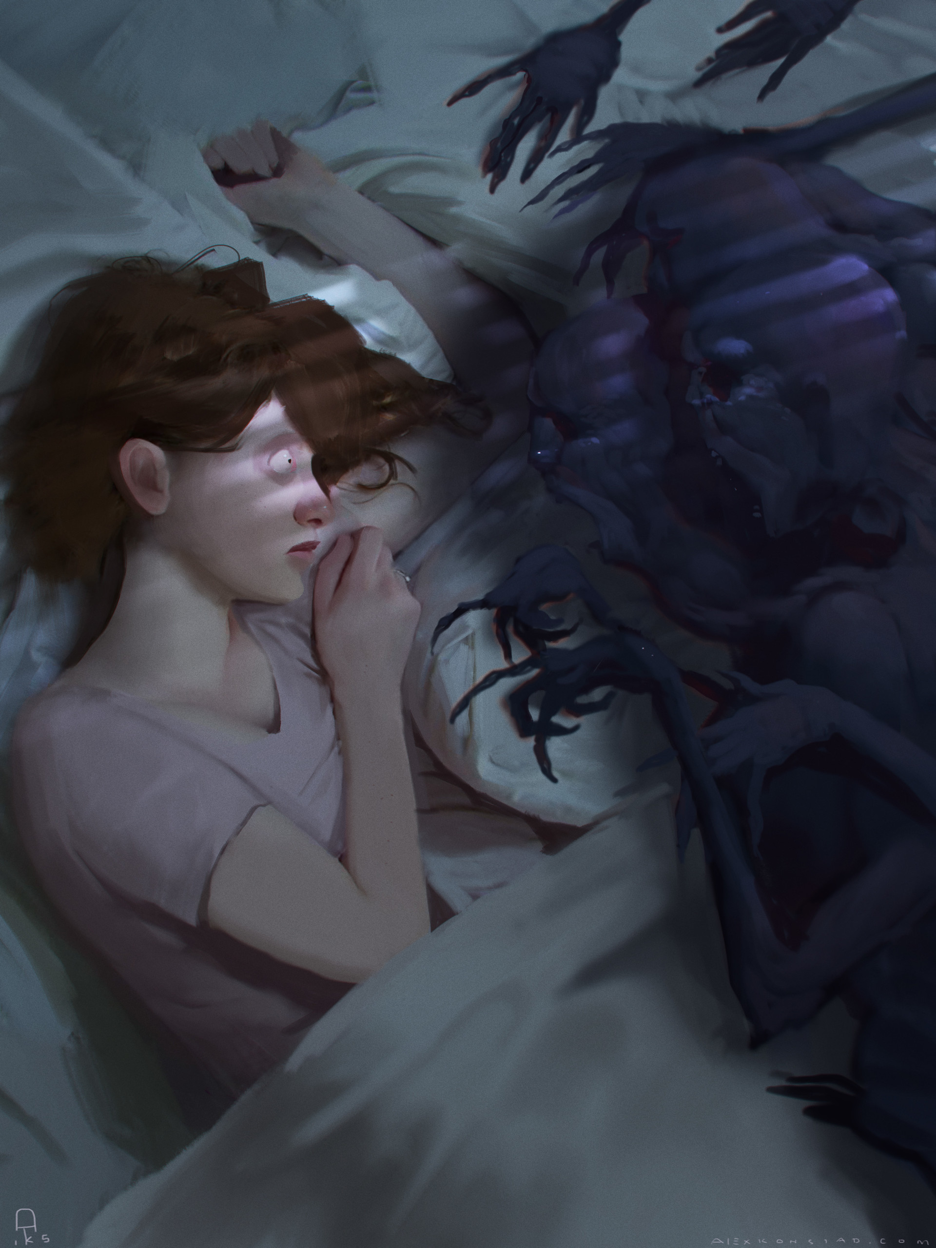 Alex Konstad Digital Painting Hell of a Story Sleep Paralysis