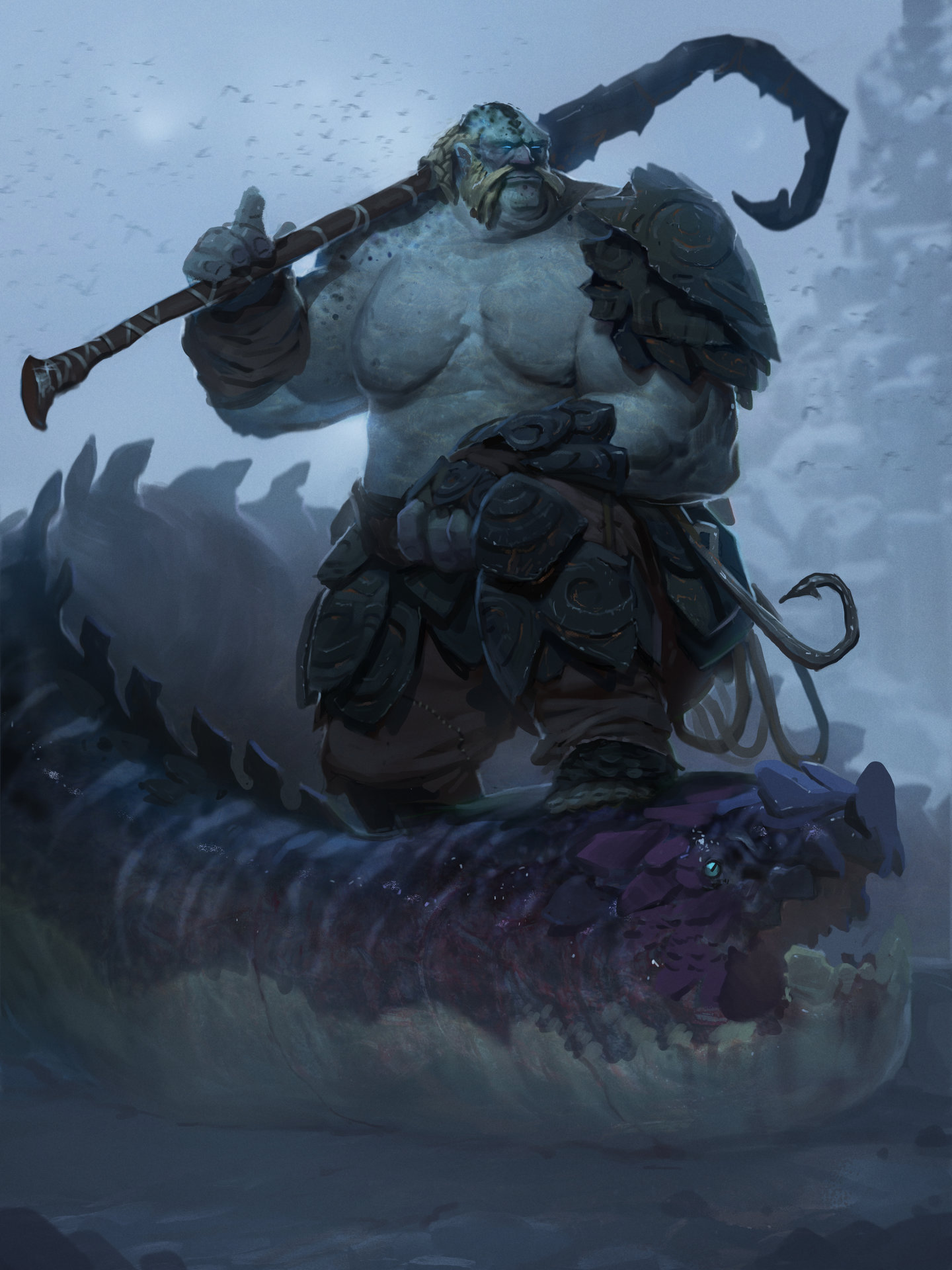 Alex Konstad Digital Painting Shieldbreak The Dragon Fisherman