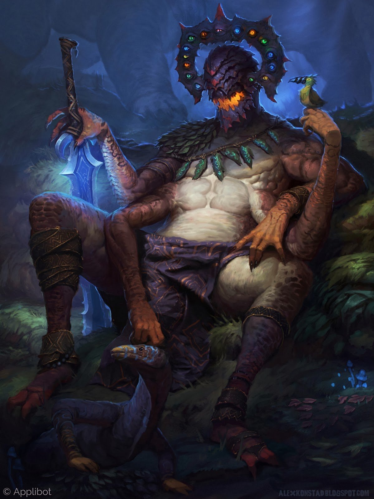 Alex Konstad Digital Painting Applibot The Jungle God