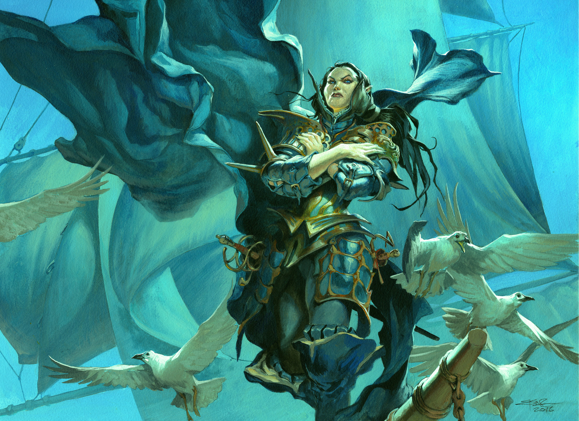 Jesper Ejsing Acrylic Painting Queen´s Bay Soldier Magic the Gathering Ixalan