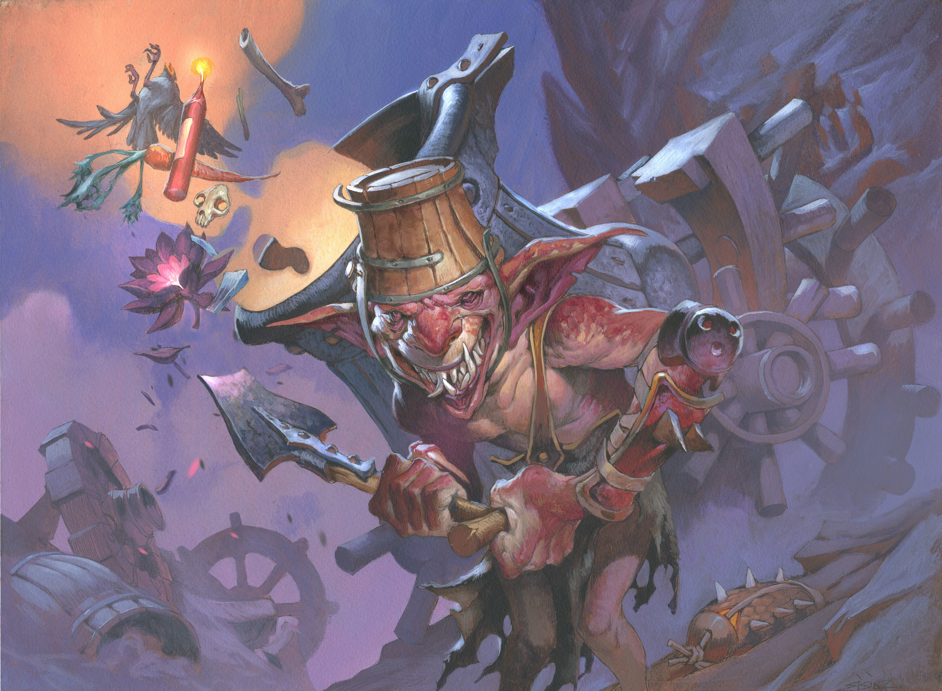 Jesper Ejsing Acrylic Painting Goblin Charbelcher Magic the gathering