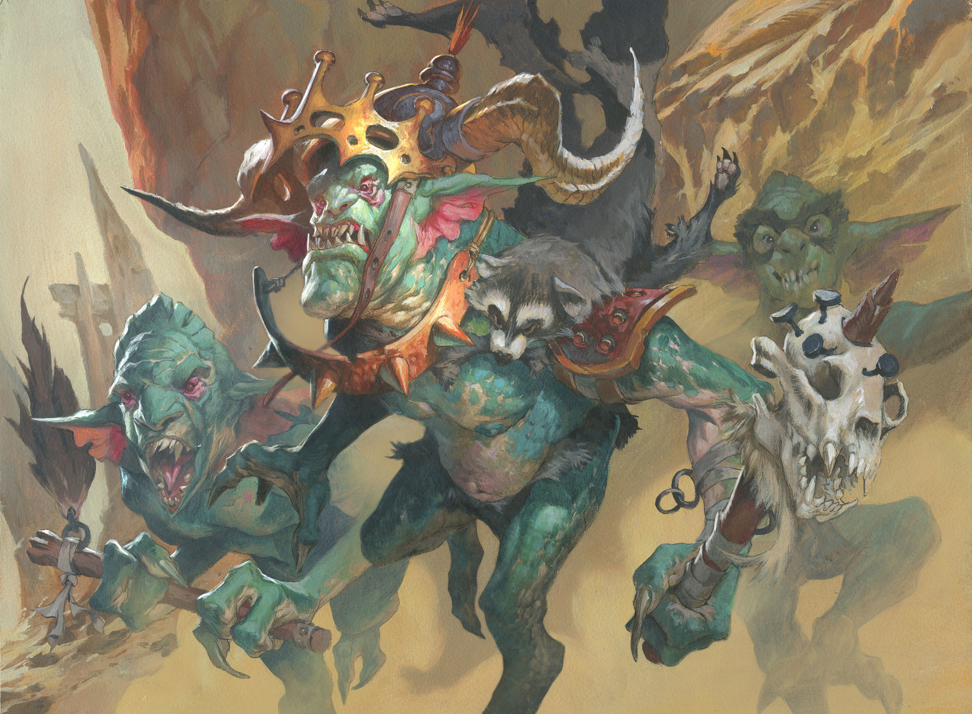 Jesper Ejsing Acrylic Painting Goblin War Marchal Magic The Gathering