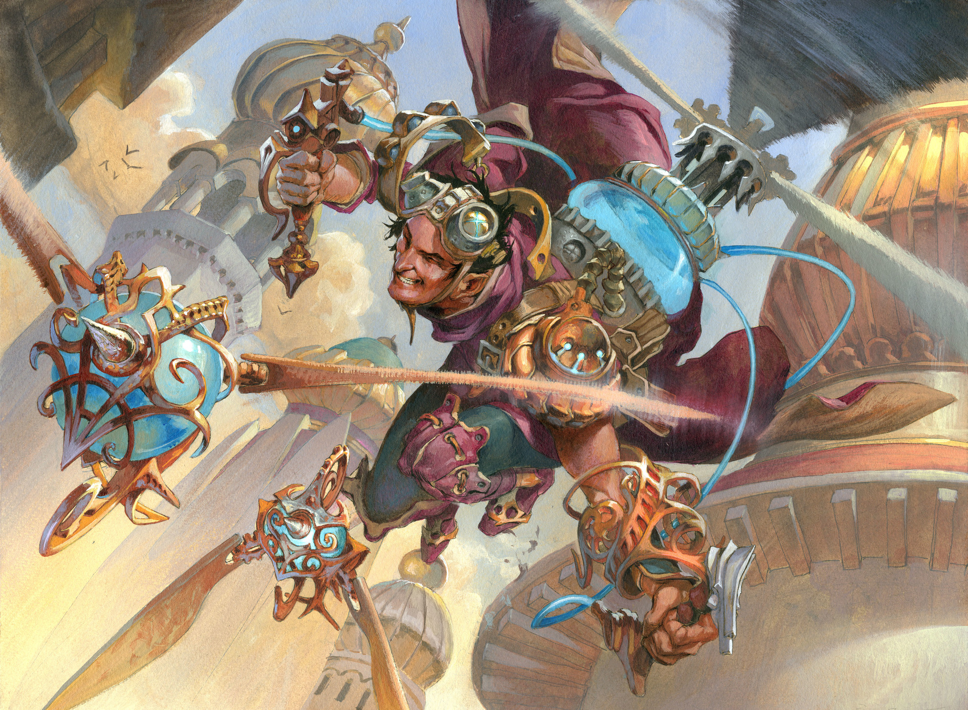 Jesper Ejsing Acrylic Painting Experimental Aviator Magic the Gathering art