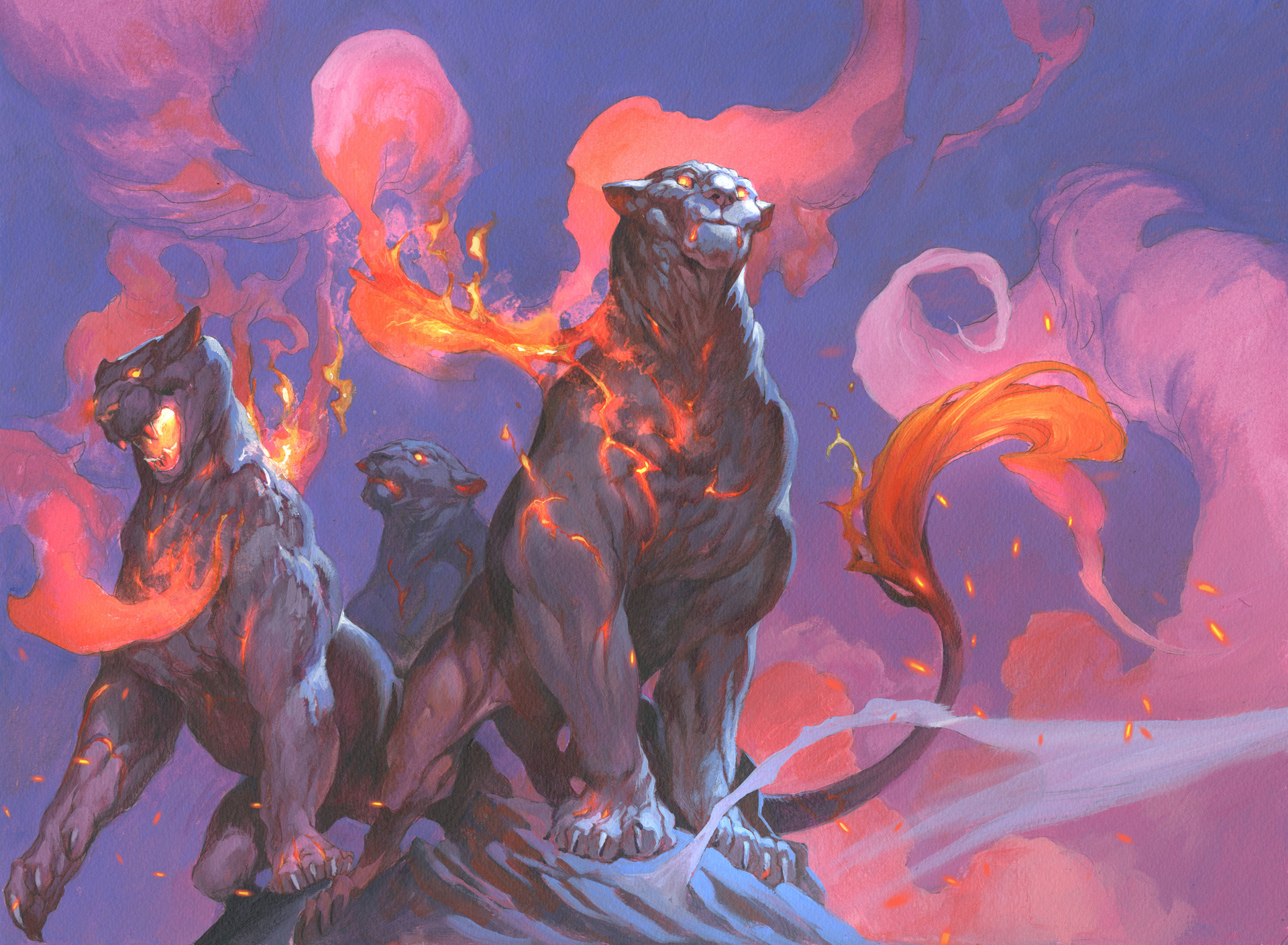 Jesper Ejsing Acrylic Painting Fire cats Magic the Gathering Board game card art