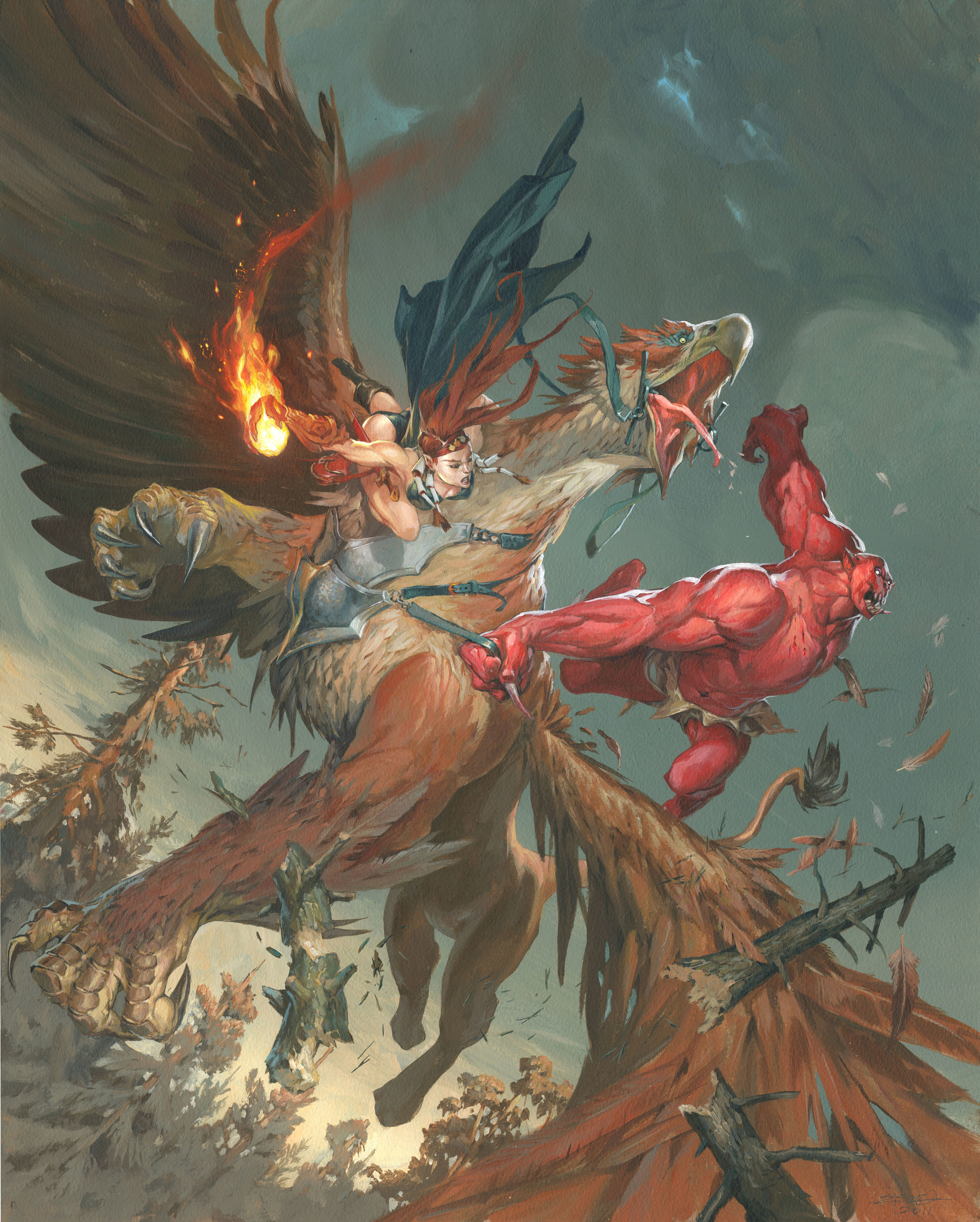 Jesper Ejsing Acrylic Painting Griffon vs Demon cover for Atari
