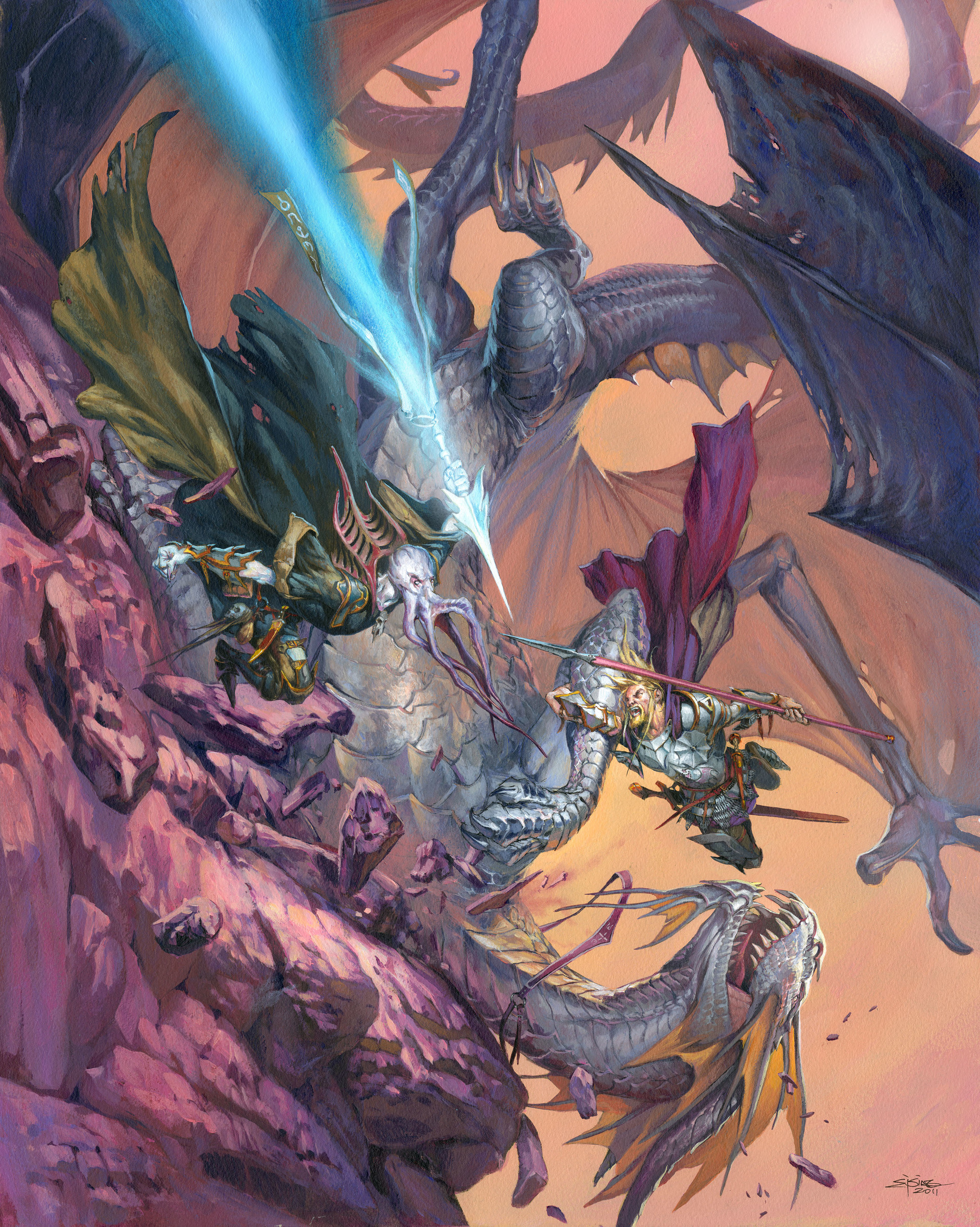 Jesper Ejsing Acrylic Painting Mindflayer vs Silverdragon A cover illustration for Atari
