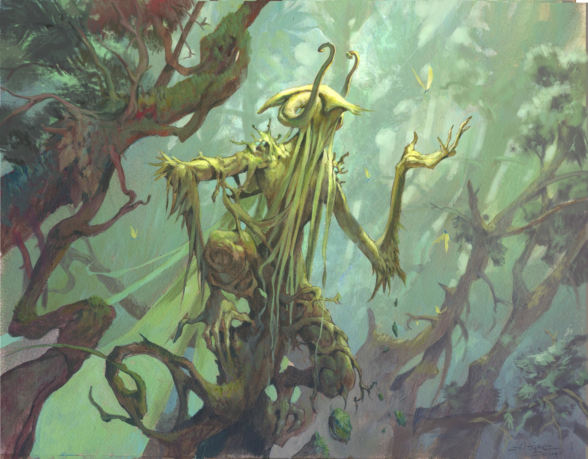 Jesper Ejsing Acrylic Painting Glade watcher magic the Gathering