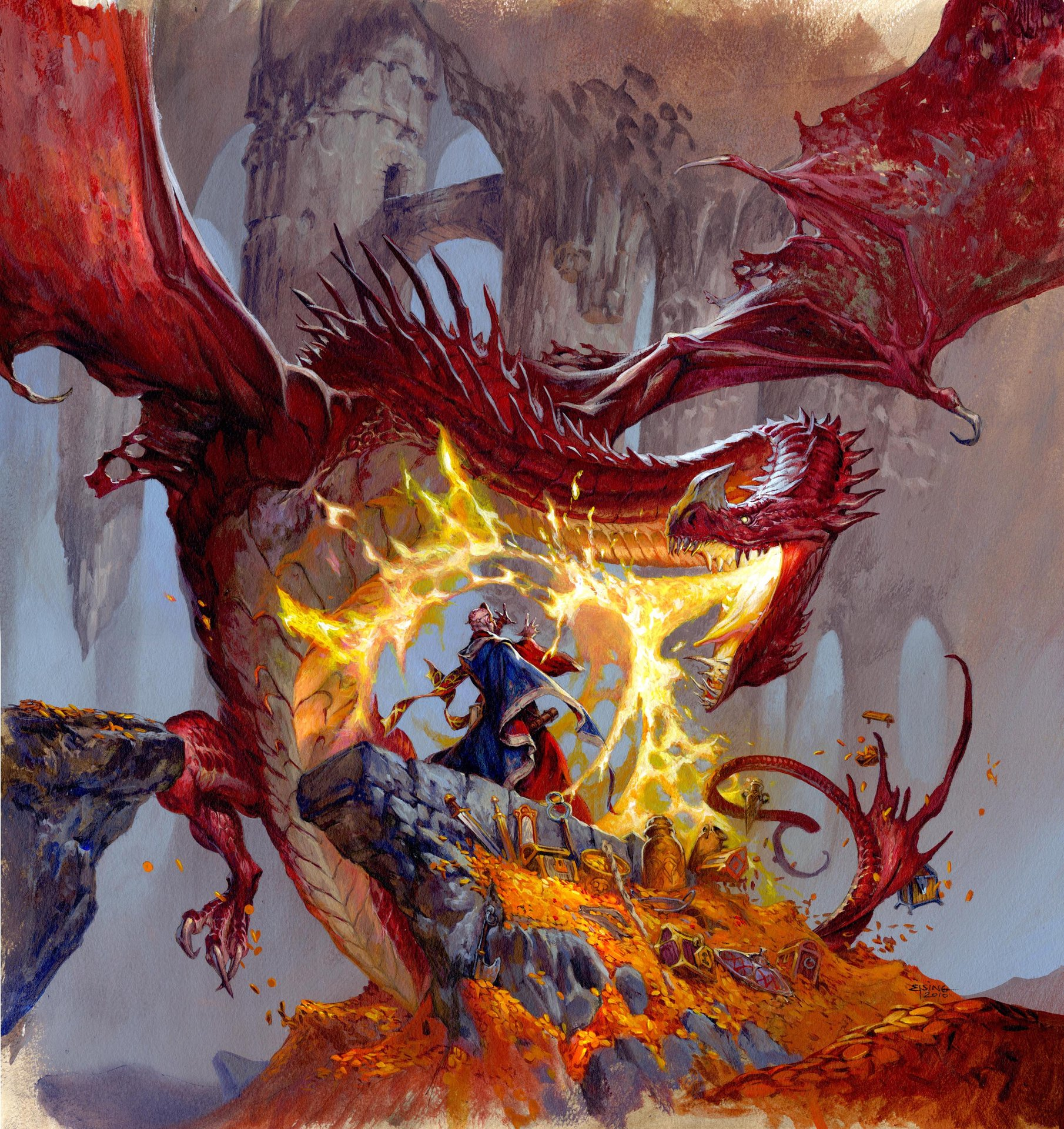 Jesper Ejsing Acrylic Painting DungeonQuest Boardgame cover. Fantasy Flight Games