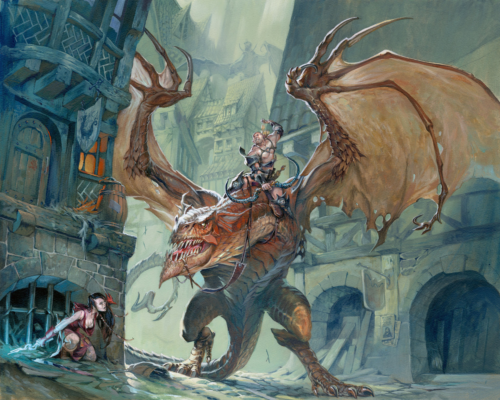 Jesper Ejsing Acrylic Painting Hunted Dragon Magazine 389, Wizards of the Coast