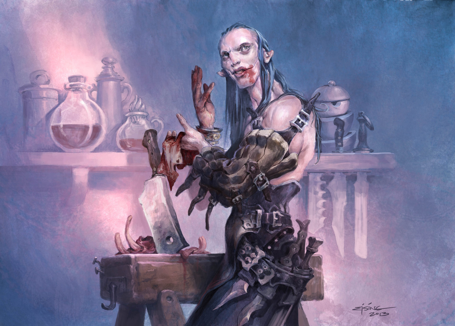 Jesper Ejsing Acrylic Painting Flesh Carver Magic the Gathering Commander 2014