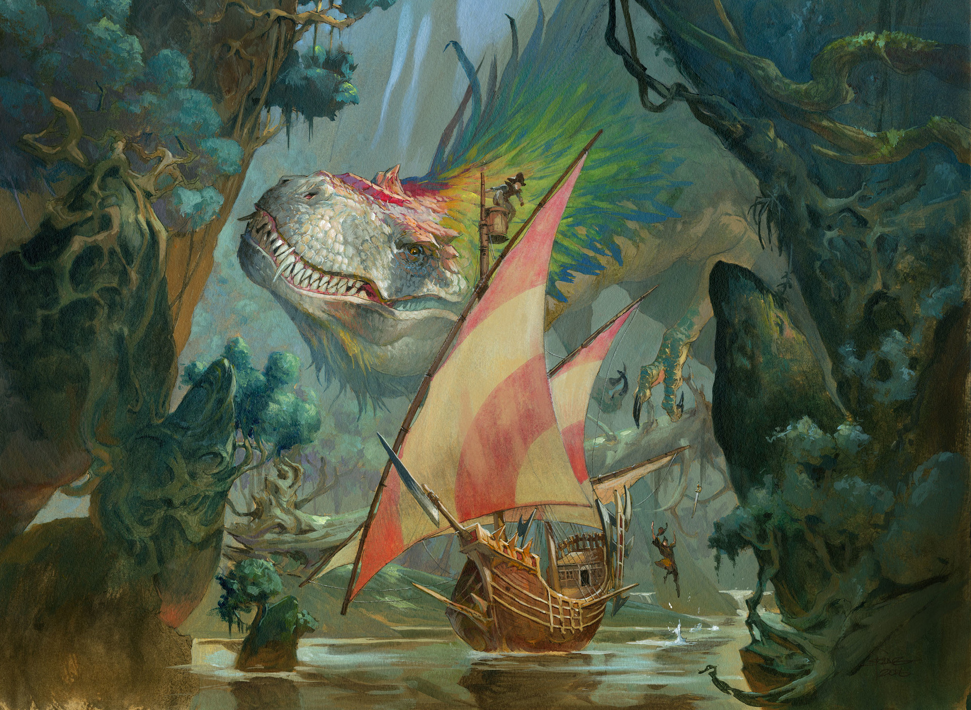 Jesper Ejsing Acrylic Painting Colossal Dreadmaw Magic the Gathering ixalan