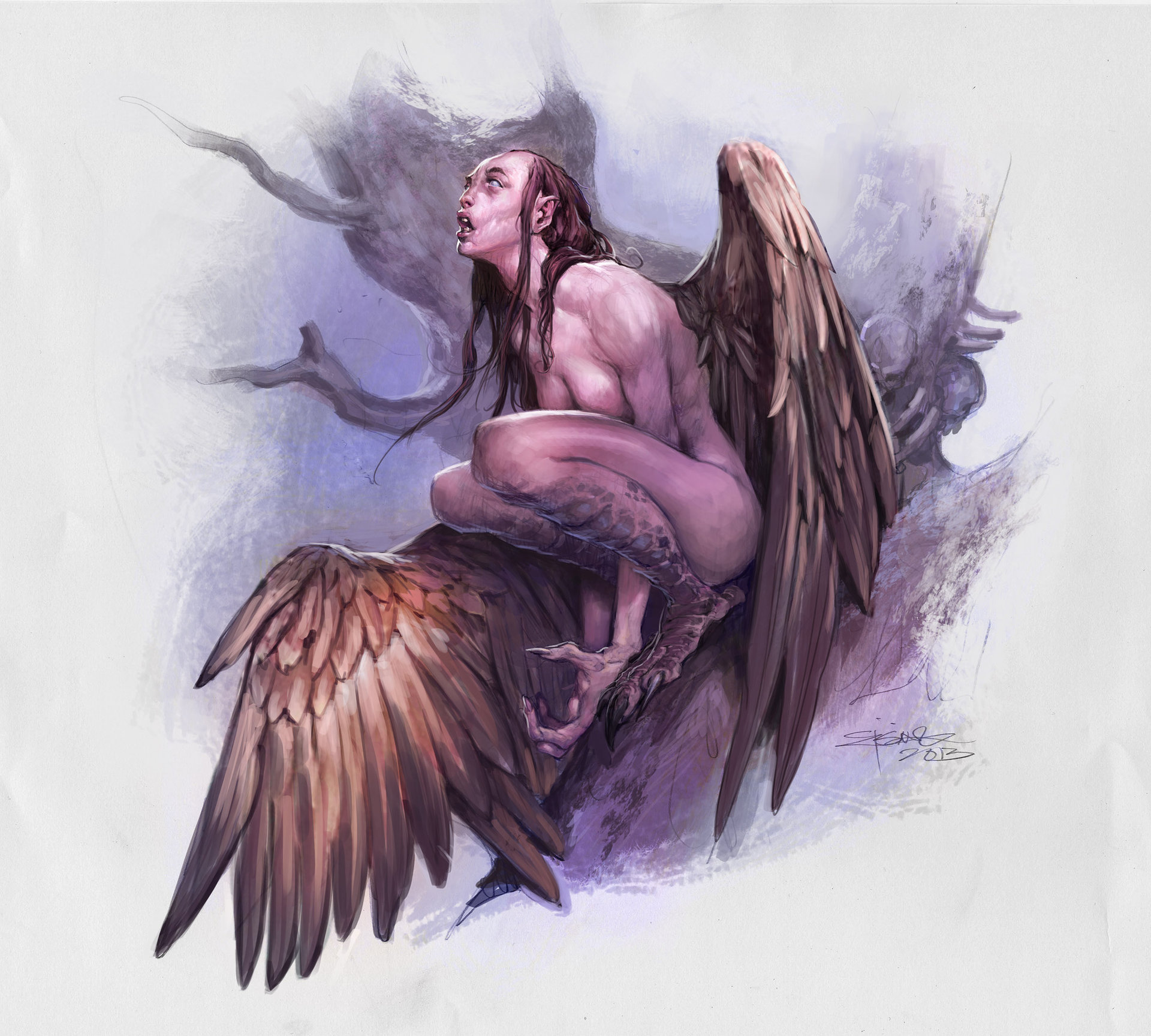 Jesper Ejsing Acrylic Painting Harpy DnD5E monster Manual illustration