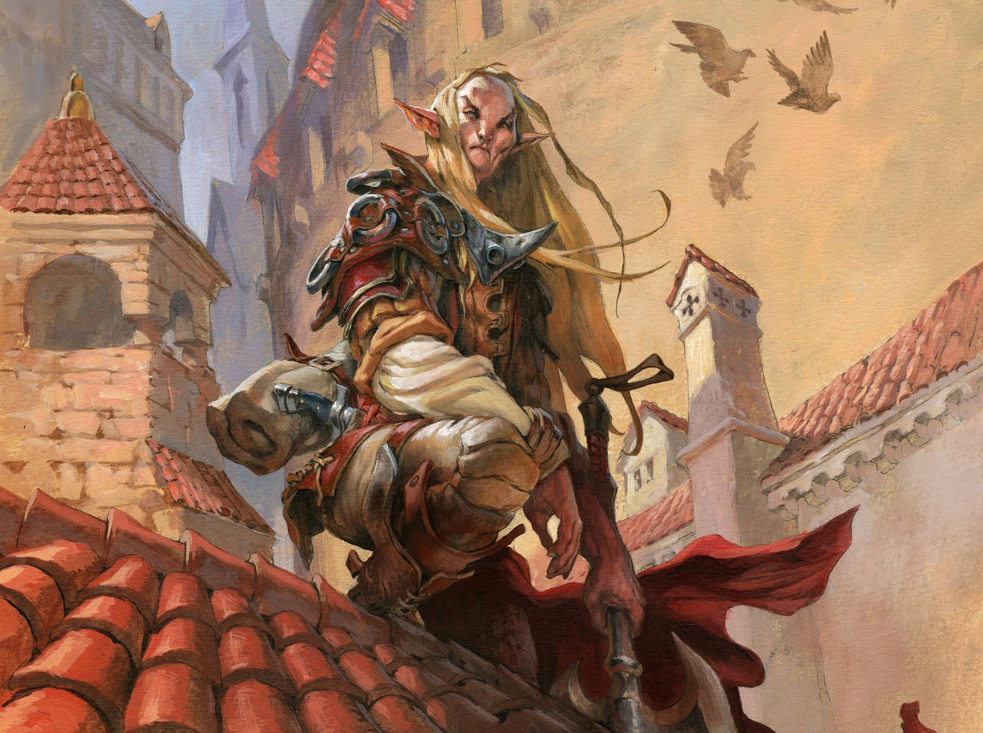 Jesper Ejsing Acrylic Painting Elf scout Magic the gathering illustration