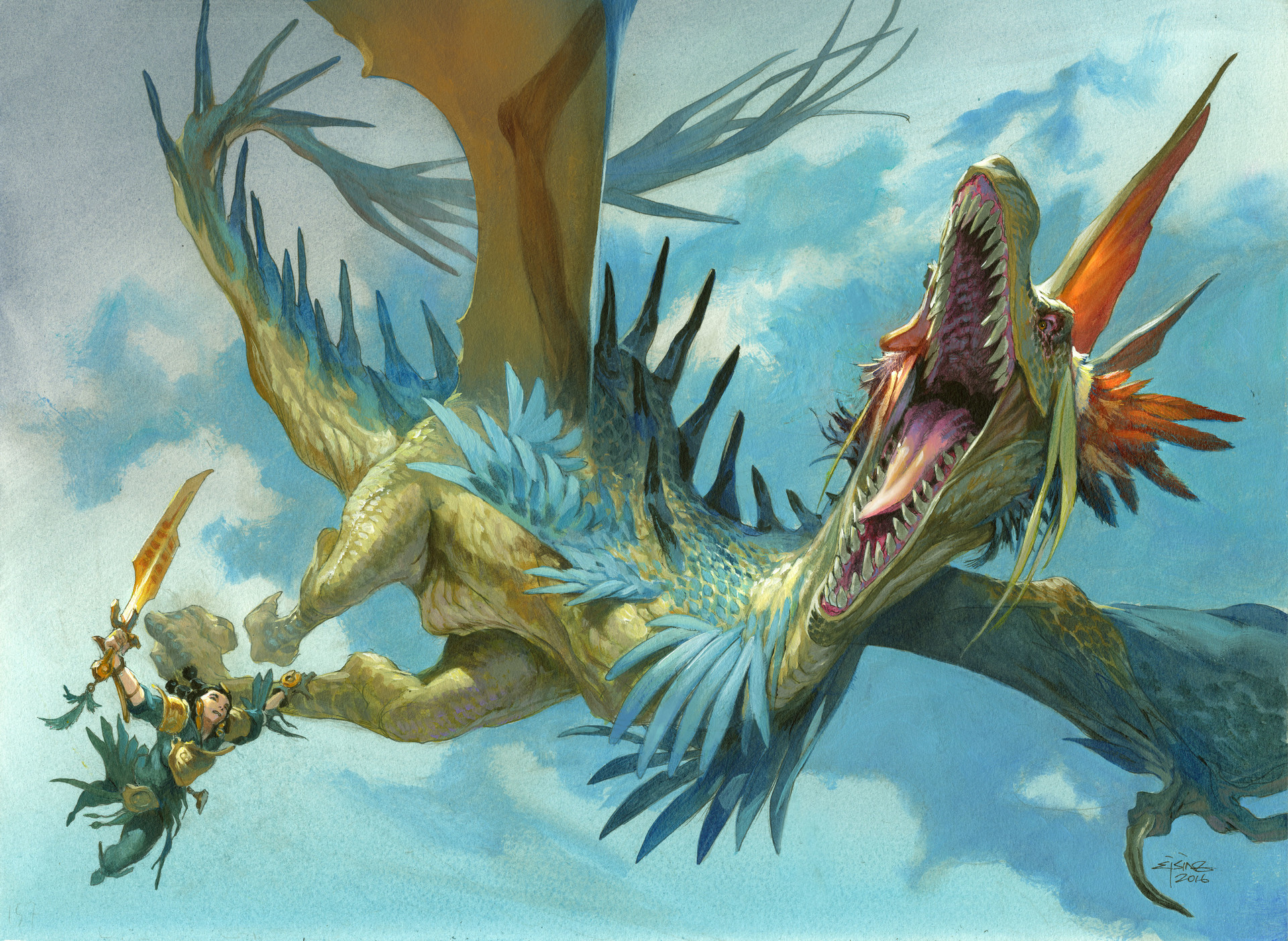 Jesper Ejsing Acrylic Painting Imperial Aerosaur Magic the Gathering Ixalan