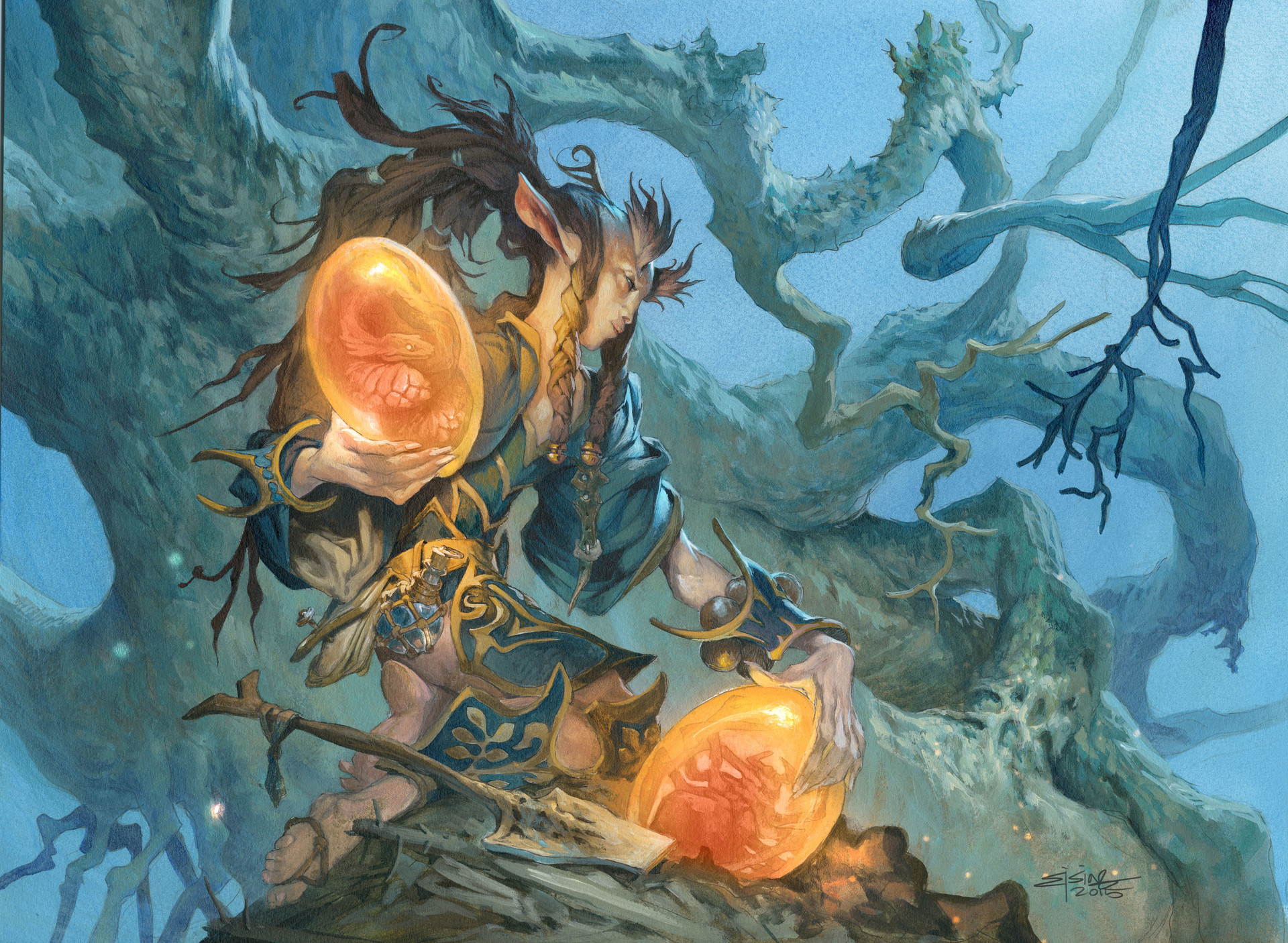 Jesper Ejsing Acrylic Painting Seed of Renewald Magic the gathering artwork for Commander 2016