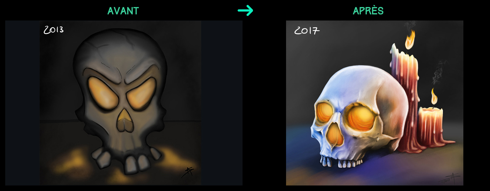 progression digital painting avant après