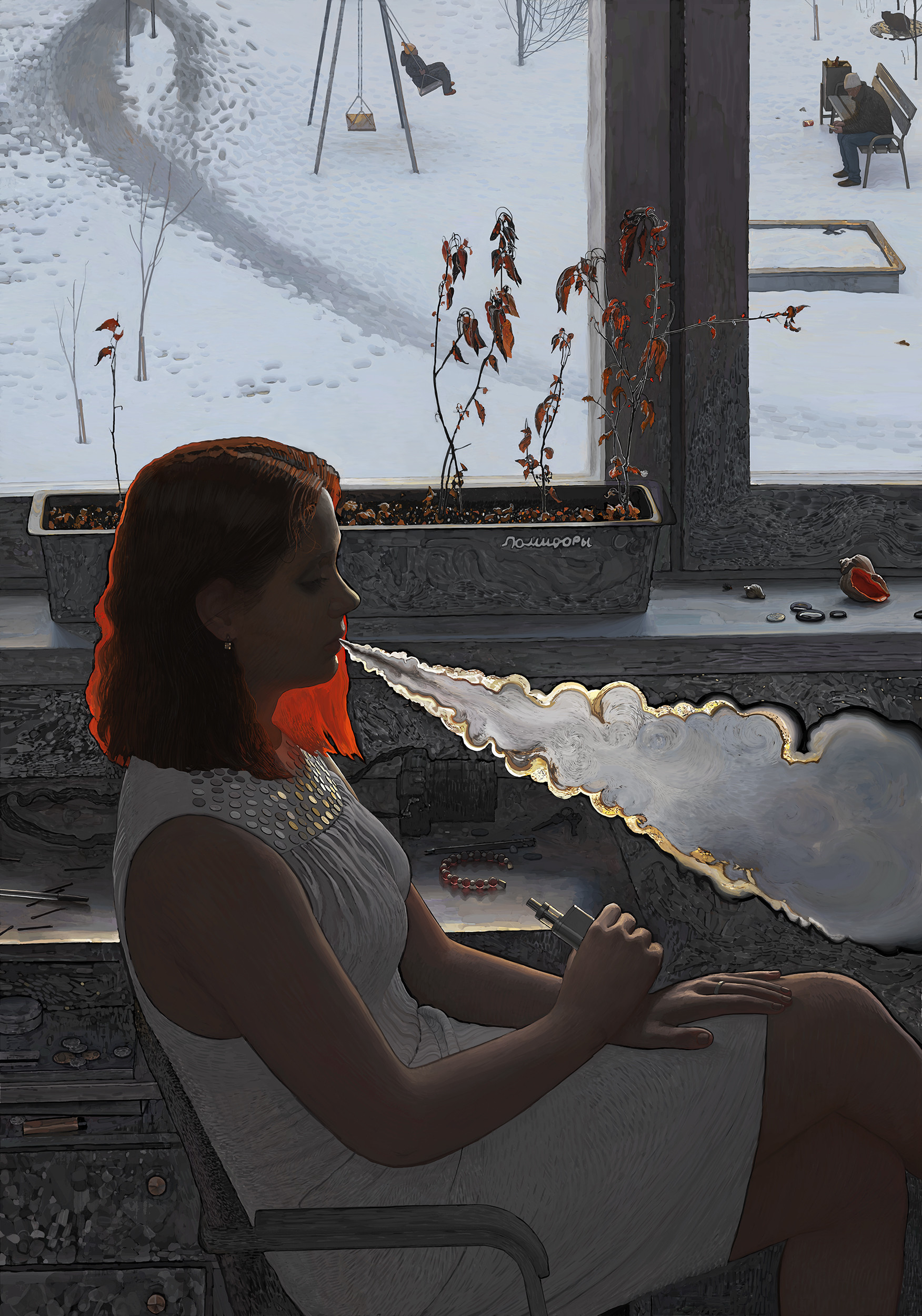 Andrey Surnov Digital Painting Vape girl snow