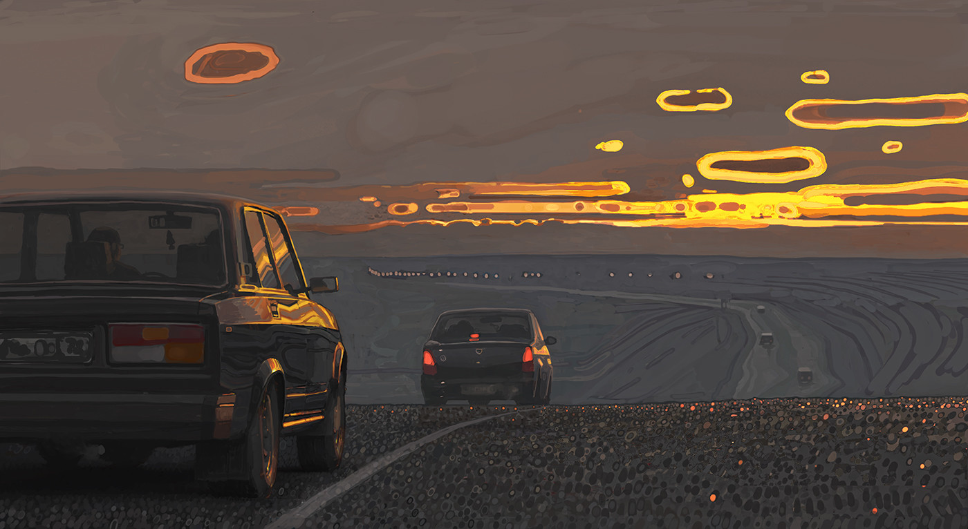 Andrey Surnov Digital Painting Evening traffic