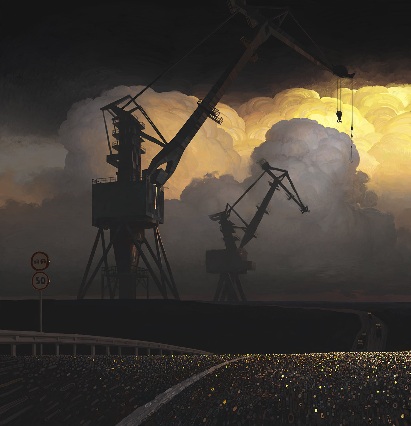 Andrey Surnov Digital Painting Cranes clouds sun