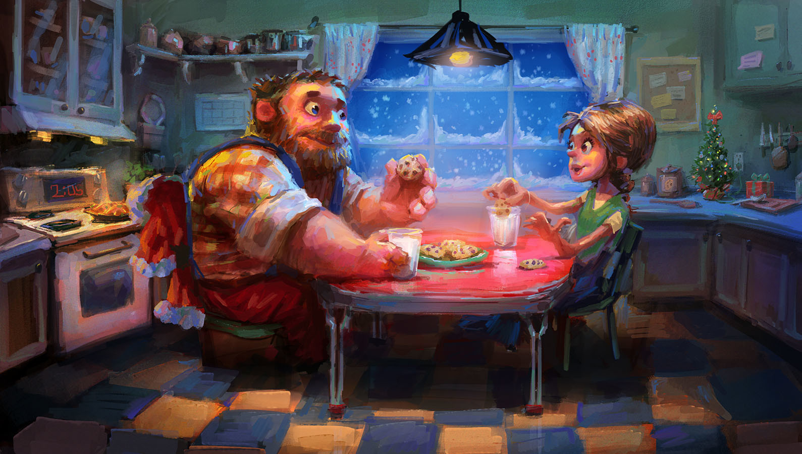 marco bucci digital painting illustration  Santa Meets Mrs. Claus