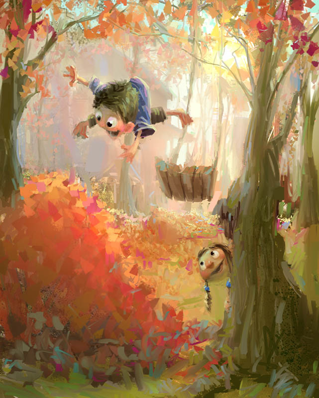 marco bucci digital painting illustration Fall