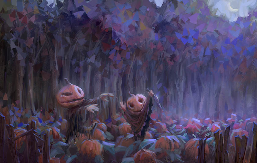 marco bucci digital painting illustration Pumpkin ritual