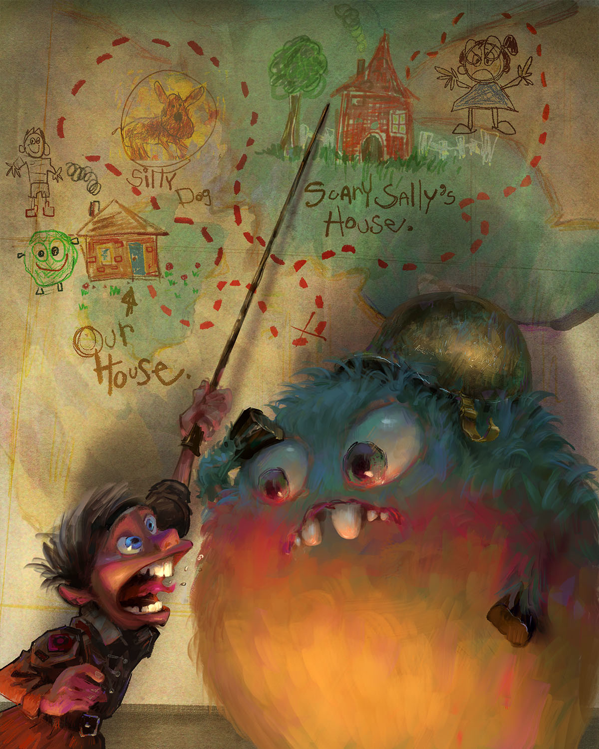 marco bucci digital painting illustration The Plan Monster kid