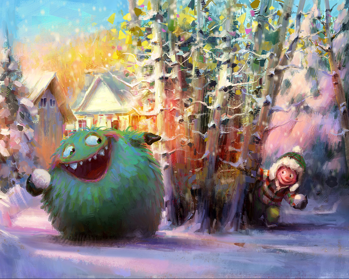 marco bucci digital painting illustration Snowball fight monster kid