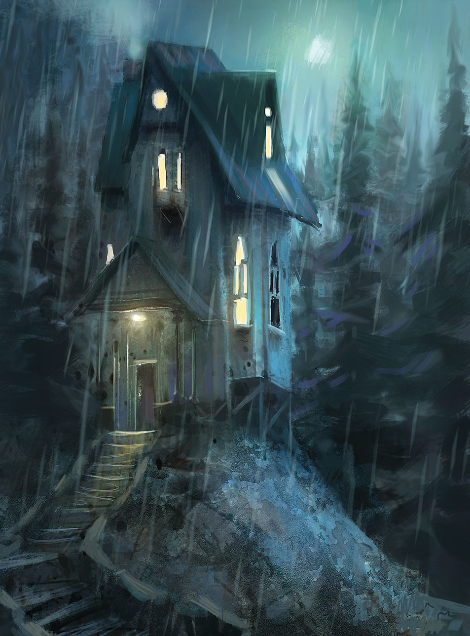 marco bucci digital painting illustration Night house