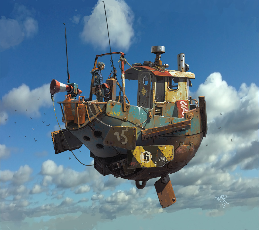 Ian McQue Digital Painting flying boat with man