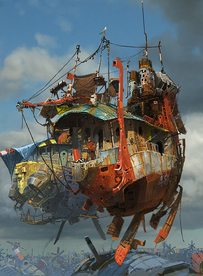 Ian McQue Digital Painting flying ship blue red