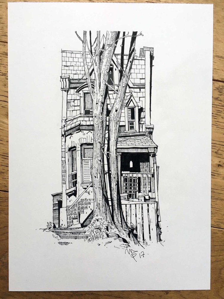 Ian McQue sketch black and white house