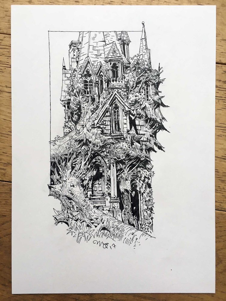 Ian McQue sketch house in the tree