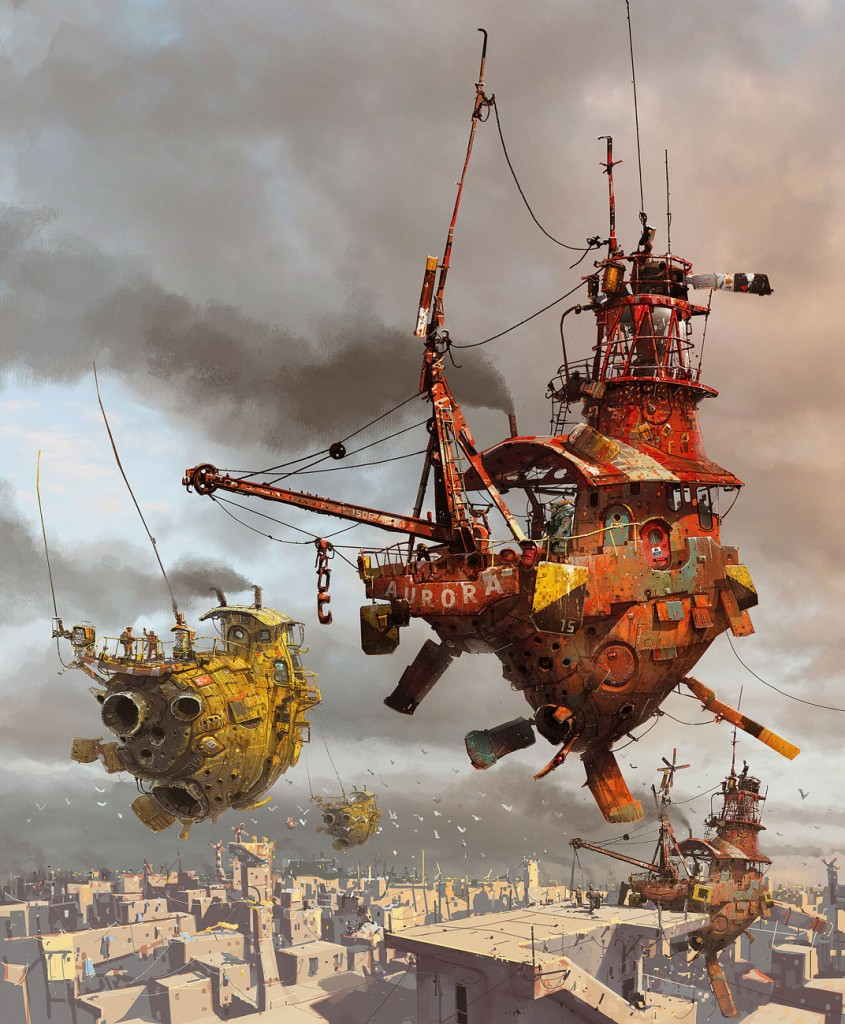 Ian McQue Digital Painting flying ship red and yellow