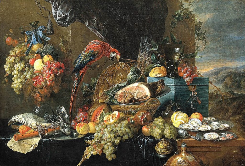 Jan Davidszoon de Heem, Table d'apparat avec perroquets, 1650
