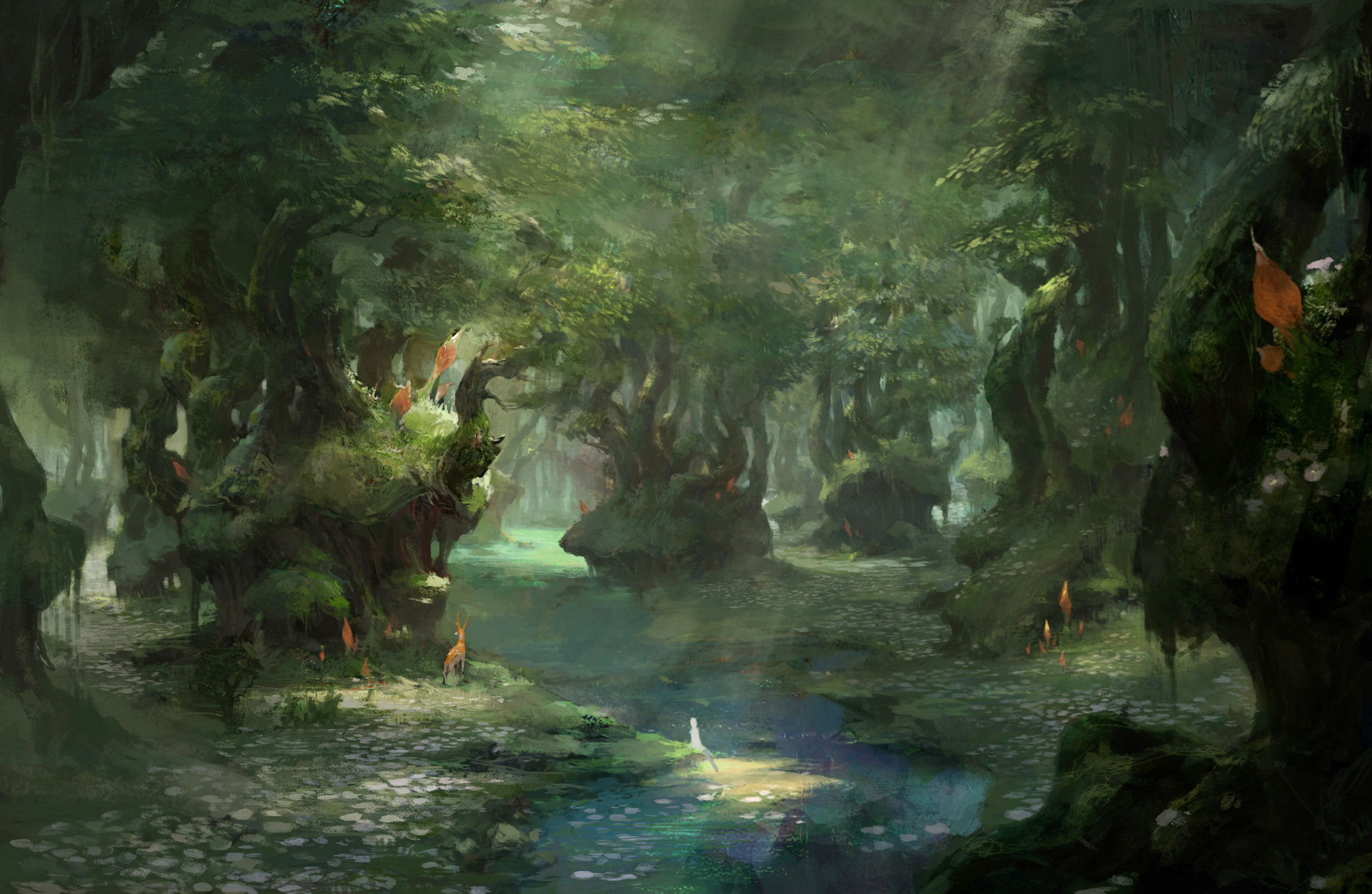 Xiaodi Jin Digital painting Illustration Green Forest
