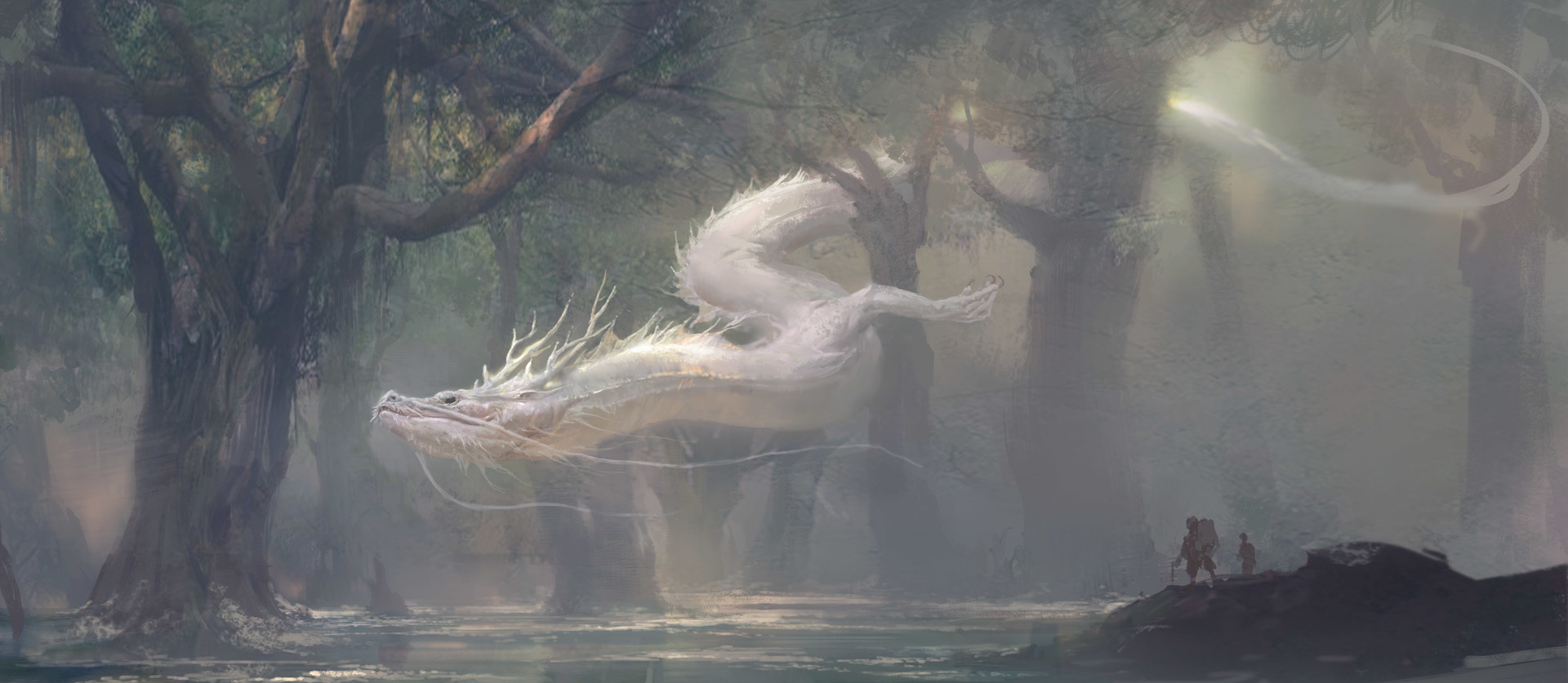 Xiaodi Jin Digital painting illustration white dragon