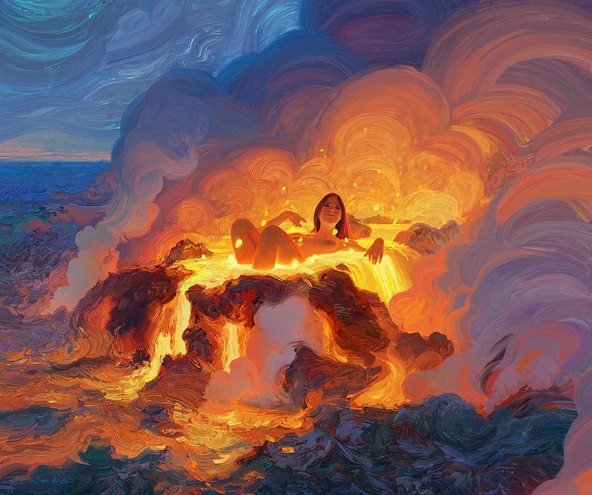 Digital Painting Illustration Artem Chebokha Rhads Woman Cloud Lava