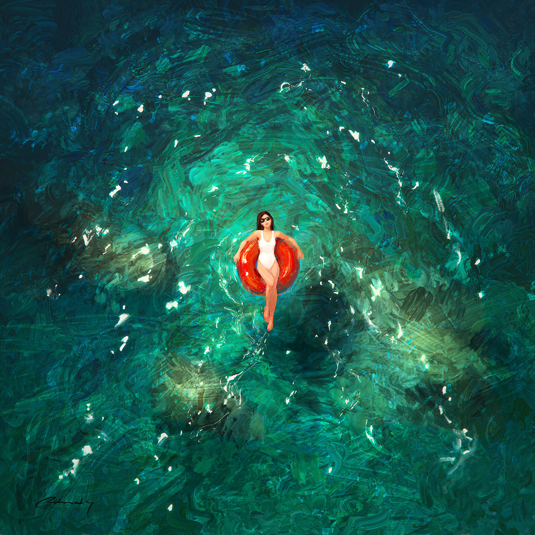 Digital Painting Illustration Artem Chebokha Rhads Woman sea white bikini
