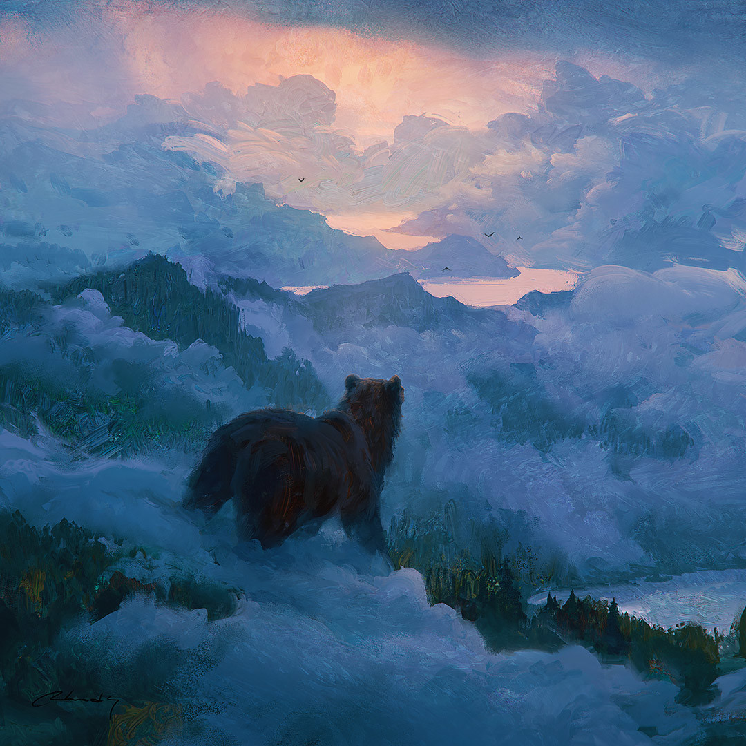 Digital Painting Illustration Artem Chebokha Rhads LLandscape Bear Twilight