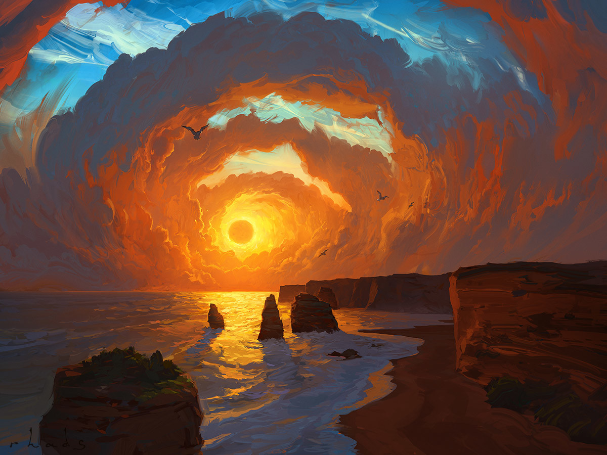Digital Painting Illustration Artem Chebokha Rhads Sunset Sea rock beach